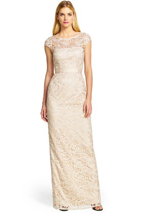 Sheath Floor-Length Scoop Neck Cap Sleeve Bowed Lace Bridesmaid Dress