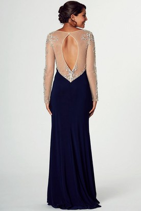 Long-Sleeve Beaded Long Bateau-Neck Jersey Prom Dress With Split Front