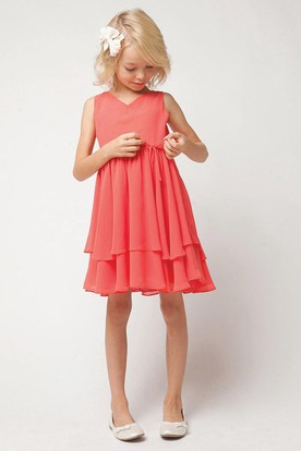 Straps Pleated Tiered Chiffon Flower Girl Dress With Sash