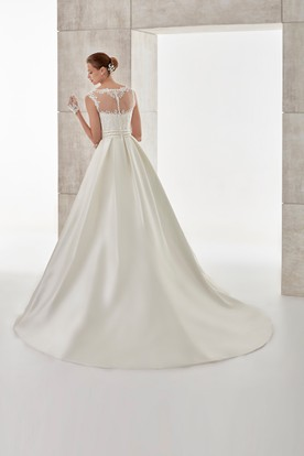 Jewel-Neck Cap-Sleeve A-Line Wedding Dress With Lace Bodice And Brush Train