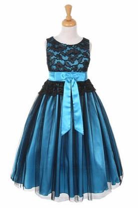 Tea-Length Sleeveless Tulle&Lace Flower Girl Dress