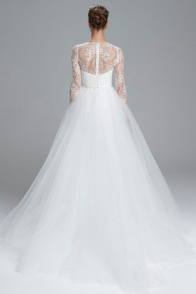 Ball Gown Long-Sleeve High Neck Tulle Wedding Dress With Lace And Illusion
