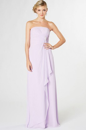 Floor-Length Strapless Ruched Chiffon Bridesmaid Dress With Draping And V Back