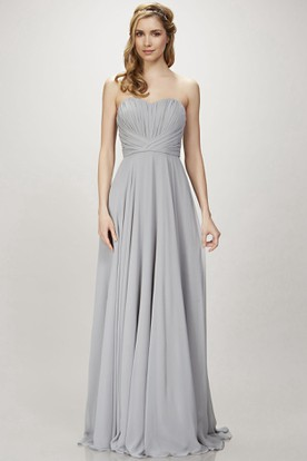 Floor-Length Sleeveless Sweetheart Ruched Chiffon Bridesmaid Dress