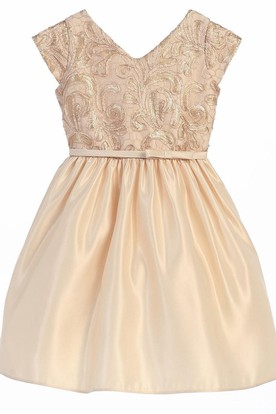 Embroideried Tea-Length Bowed Tiered Sequins&Satin Flower Girl Dress With Sash