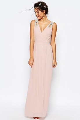 Sheath V-Neck Beaded Sleeveless Floor-Length Chiffon Bridesmaid Dress With Ruching And V Back