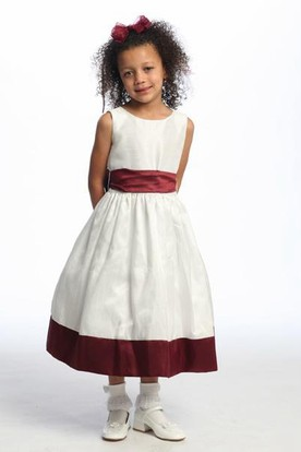 Tea-Length Floral Floral Flower Girl Dress