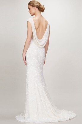 Bateau Long Beaded Jersey Wedding Dress With Sweep Train And V Back