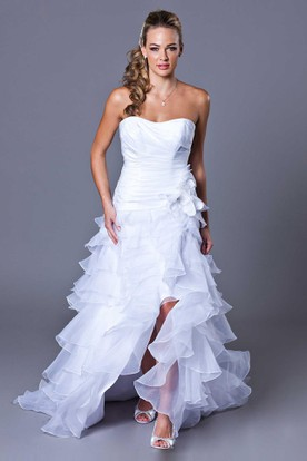 High-Low Strapless Split-Front Ruffled Organza Wedding Dress With Tiers