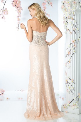 Sheath Maxi Sweetheart Sleeveless Sequins Backless Dress With Appliques
