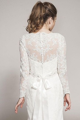 Mermaid Appliqued Long-Sleeve High Neck Lace Wedding Dress With Waist Jewellery And Bow