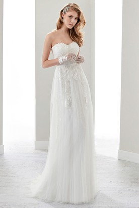 Strapless Draping Appliques Bridal Gown With Petal Bust