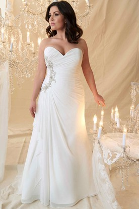 Sheath Long Beaded Sweetheart Chiffon Plus Size Wedding Dress With Criss Cross And Draping