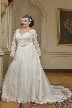 Long Sleeve Lace Bridal Gown With Crystal Satin Sash And Lace Up