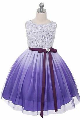 Tea-Length Tiered Broach Flower Girl Dress