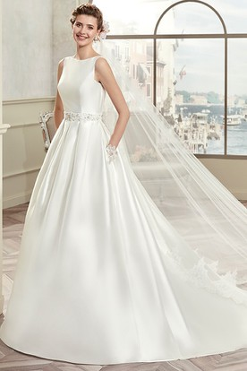 Jewel-Neck Satin A-Line Gown With Illusive Lace Back And Cap Sleeves