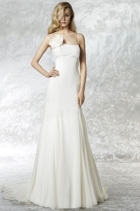 Sheath Spaghetti Sleeveless Floral Chiffon Wedding Dress With Court Train