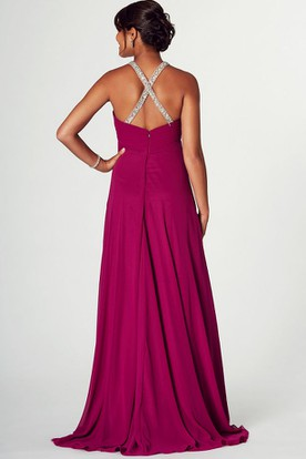 Floor-Length Beaded V-Neck Empire Sleeveless Chiffon Prom Dress
