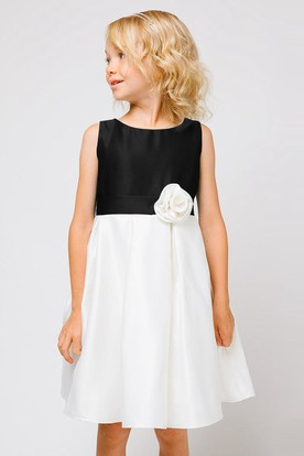 Floral Pleated Floral Satin Flower Girl Dress With Sash