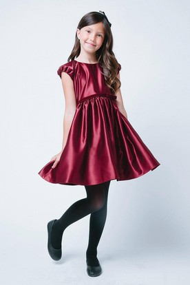 Cap-Sleeve Bowed Satin Flower Girl Dress