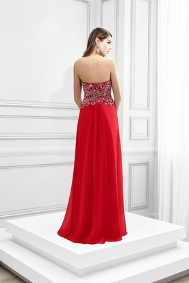 Crystal Sweetheart Sleeveless Chiffon Prom Dress