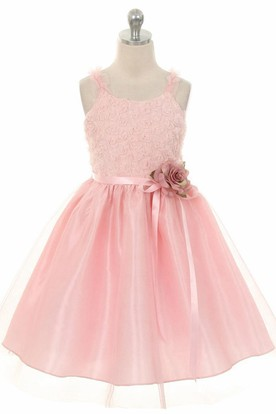 Tea-Length Ruffled Tiered Tulle Flower Girl Dress With Embroidery