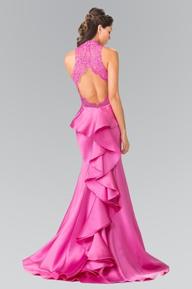 Mermaid High Neck Satin Keyhole Dress With Cascading Ruffles And Appliques