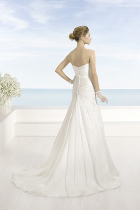 A-Line Sweetheart Chiffon Wedding Dress With Criss Cross