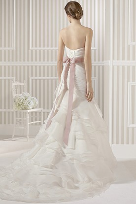 A-Line Sweetheart Long Organza Wedding Dress With Criss Cross And Tiers