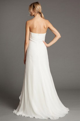 Sheath Empire Long Ruched Sweetheart Sleeveless Chiffon Wedding Dress With Draping