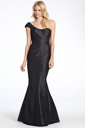 Mermaid Side-Draped One-Shoulder Satin Bridesmaid Dress With Low-V Back