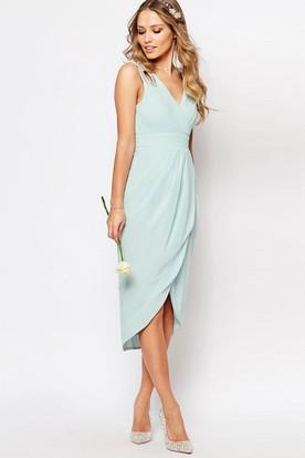 Sheath High-Low Sleeveless Criss-Cross V-Neck Chiffon Bridesmaid Dress