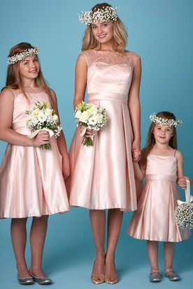 A-Line Tea-Length Appliqued Sleeveless Bateau Neck Satin Bridesmaid Dress