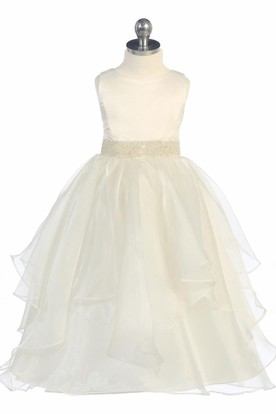 Tea-Length Tiered Beaded Sequins&Organza Flower Girl Dress With Ribbon
