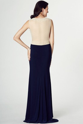 Beaded Scoop Neck Sleeveless Jersey Prom Dress With Illusion Back