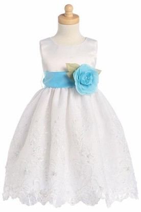Tea-Length Floral Tiered Organza&Satin Flower Girl Dress With Embroidery