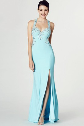 Halter Beaded Sleeveless Chiffon Prom Dress