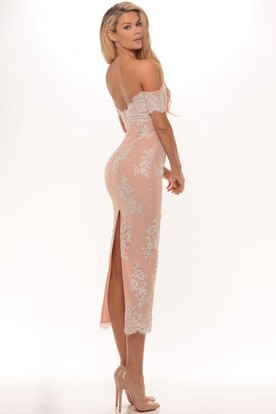 Pencil Tea-Length Appliqued Off-The-Shoulder Prom Dress With Split Back