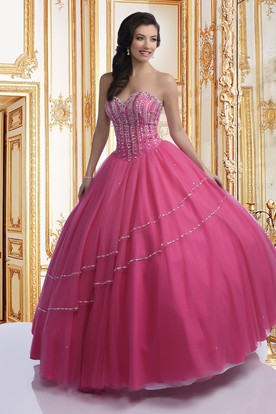 Tulle Sweetheart Ball Gown With Asymmetrical Beaded Lines