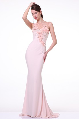 Sheath Maxi Jewel-Neck Sleeveless Jersey Illusion Dress With Flower And Beading