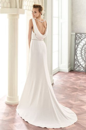 Floor-Length V-Neck Jeweled Satin Wedding Dress With Brush Train And V Back