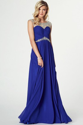 Maxi Scoop Neck Beaded Sleeveless Chiffon Prom Dress