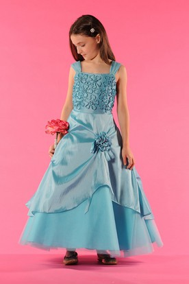 Flower Girl Square Neck A-line Taffeta Wrapped Tulle Gown With Flowers