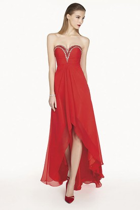 A-Line High Low Chiffon Prom Dress With Crystal Sweetheart