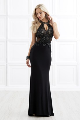 Illusion Sheath Maxi Scoop-Neck Sleeveless Jersey Keyhole Dress With Beading