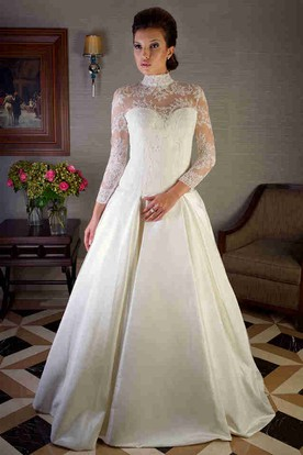 High Neck Floor-Length Lace Long-Sleeve Satin Wedding Dress