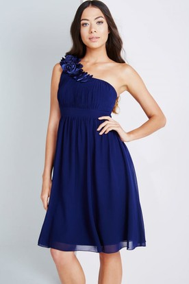 Short Sleeveless One-Shoulder Ruched Chiffon Bridesmaid Dress