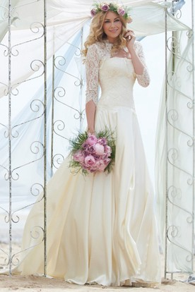 A Line 3 4 Sleeve Floor Length Strapless Chiffon Wedding Dress With