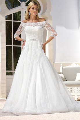 A-Line Maxi Off-The-Shoulder 3-4-Sleeve Tulle Wedding Dress With Appliques