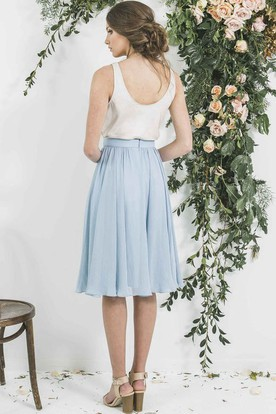 Knee-Length Pleated Sleeveless Cowl Neck Chiffon Bridesmaid Dress